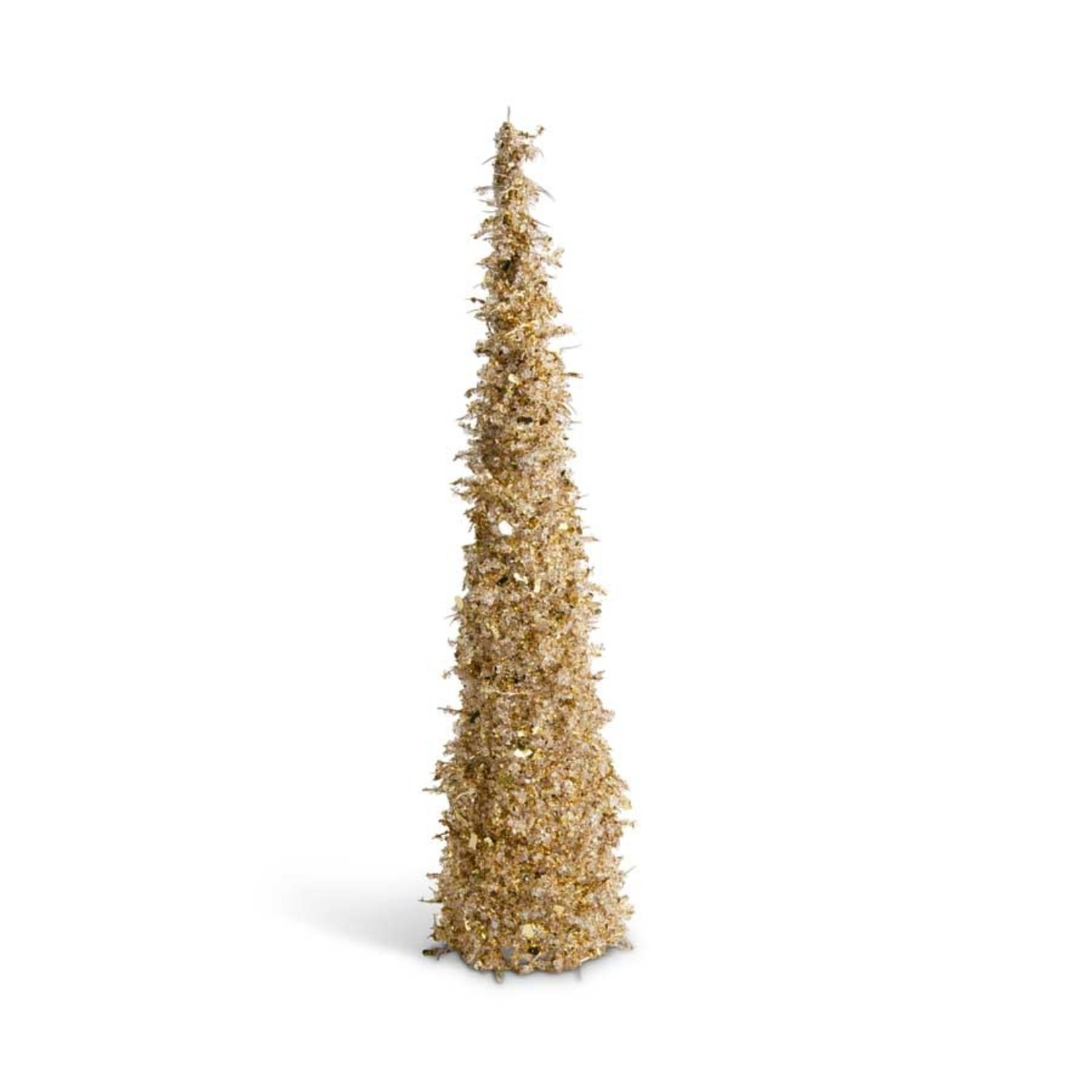 24 inch Gold Iced Beaded Cone Tree