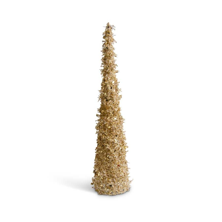 30 inch Gold Iced Beaded Cone Tree