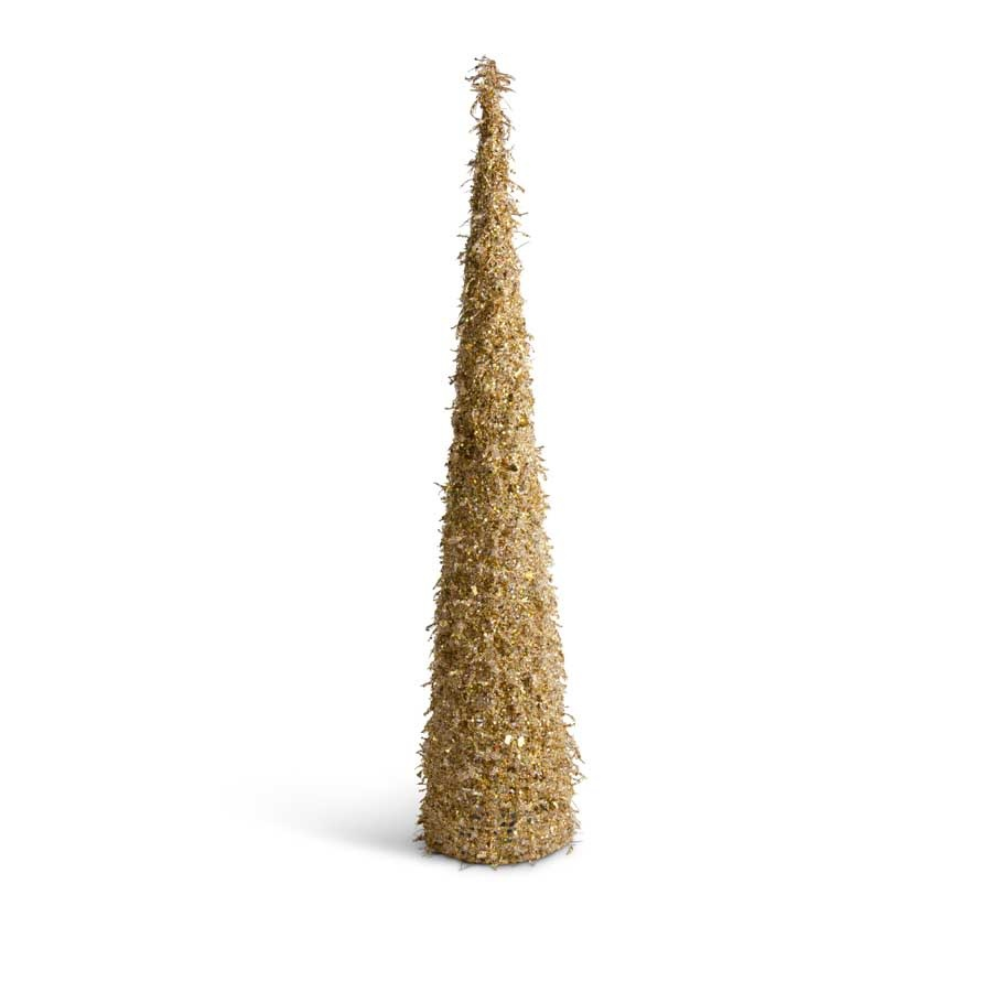 36 inch Gold Iced Beaded Cone Tree
