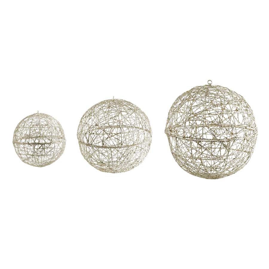Set of 3 Small Champagne Glitter Hanging Wire Balls