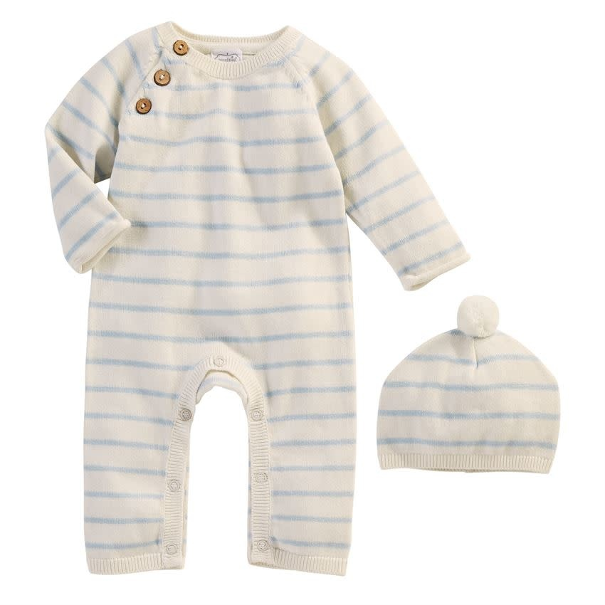 MudPie Blue Ivory Knitted Gift Set
