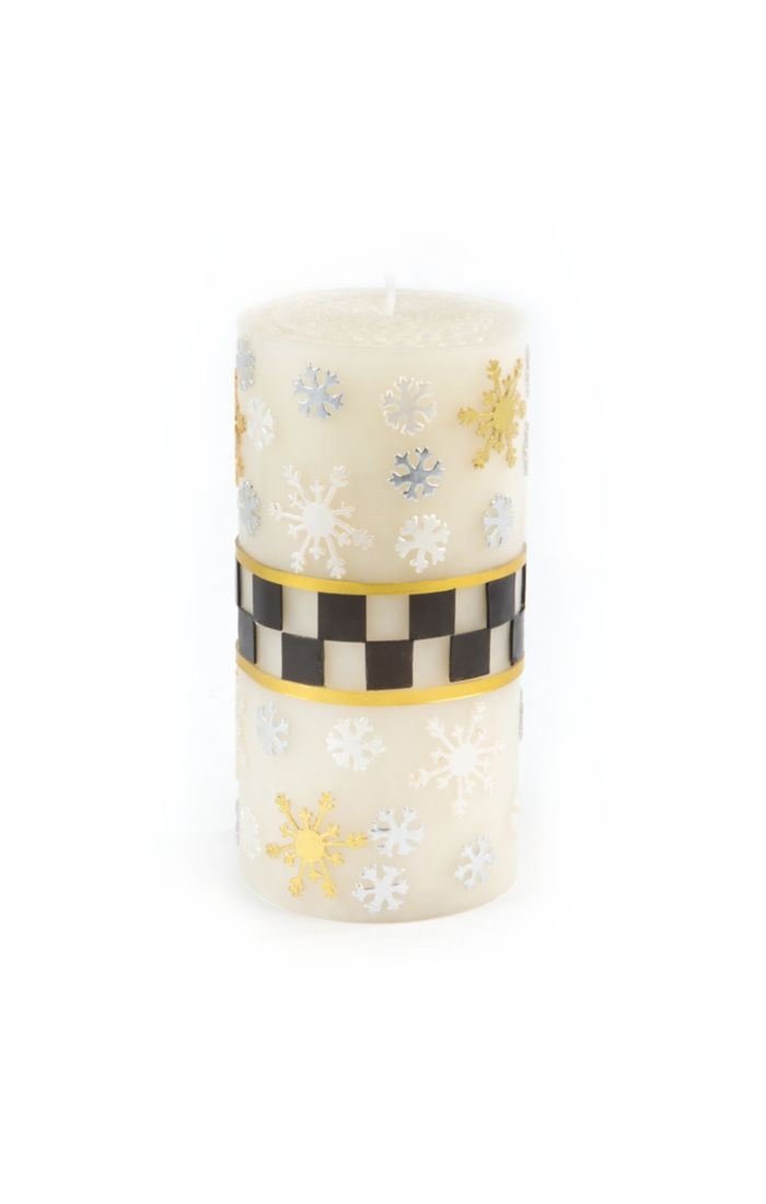 """MacKenzie Childs Silver Lining snowflake Pillar Candle - 6"""""""