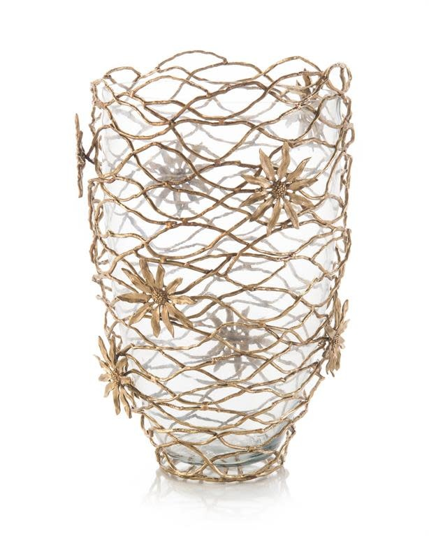 John Richard Woven Brass Vase with Flowers