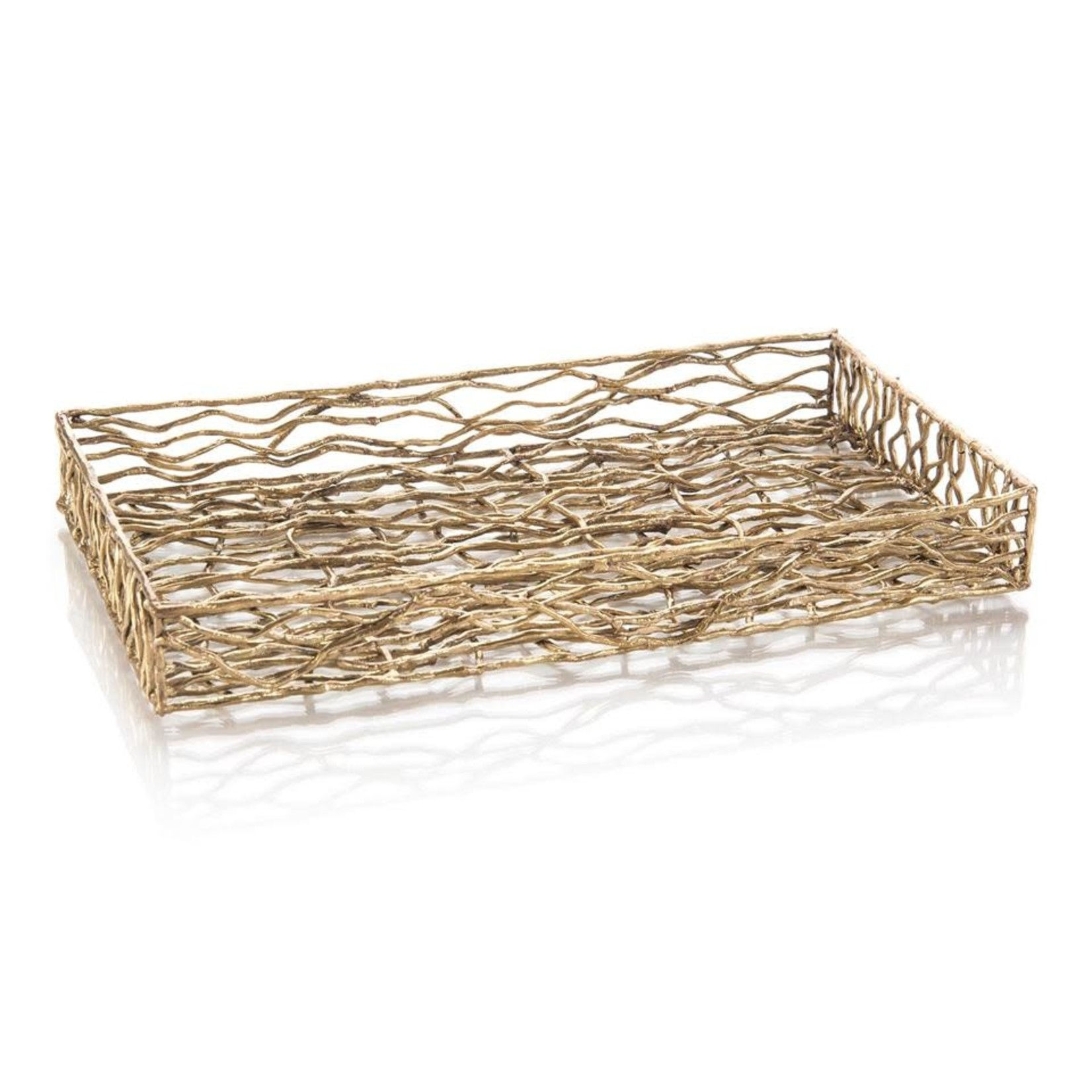 John Richard Square Basket Woven In Brass