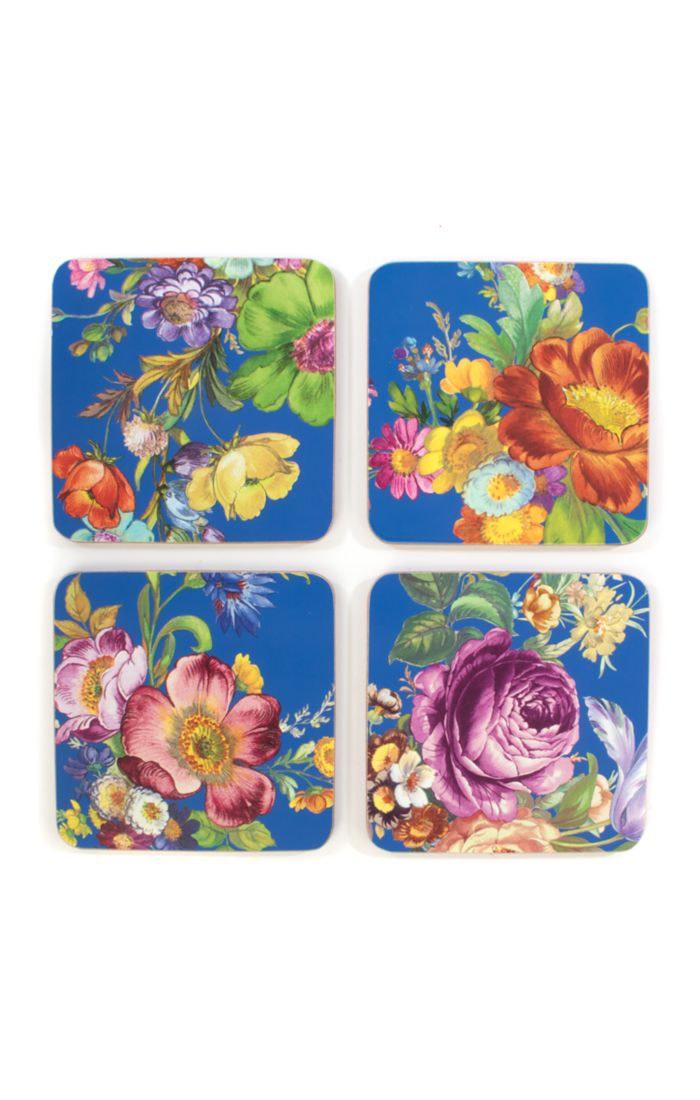 MacKenzie Childs Flower Market Lapis Cork Back Coasters Set of 4
