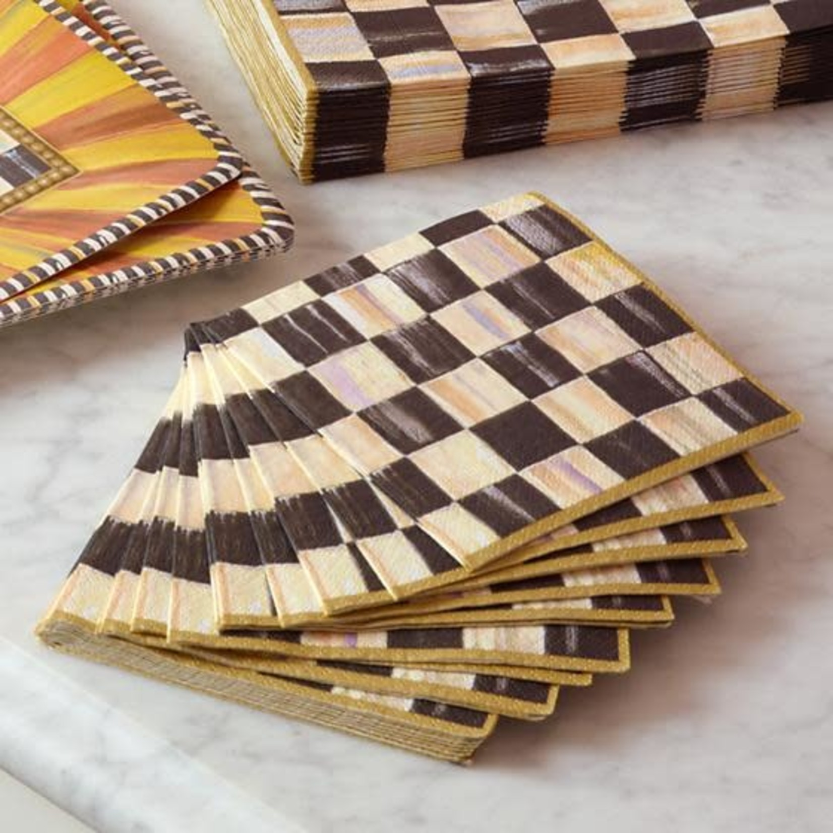 MacKenzie Childs Courtly Check Paper Napkins - Cocktail - Gold