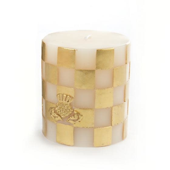 "MacKenzie Childs Check Pillar Candle - 3"" - gold & ivory"