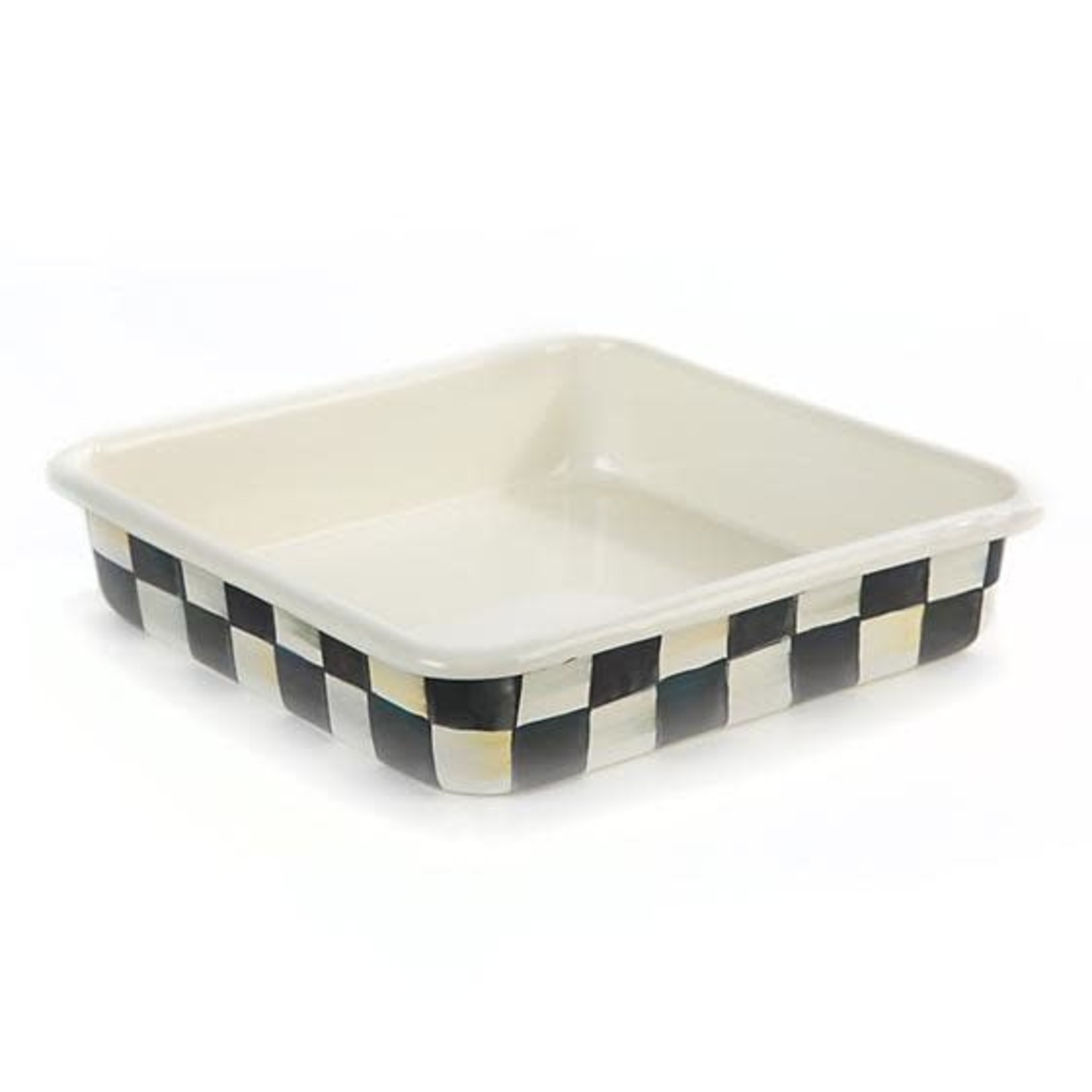 """MacKenzie Childs Courtly Check Enamel Baking Pan - 8"""""""
