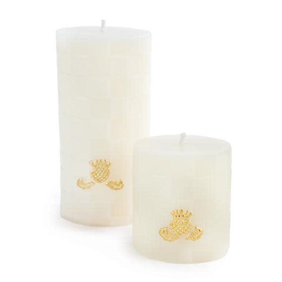"MacKenzie Childs Check Pillar Candle - 3"" - Ivory"