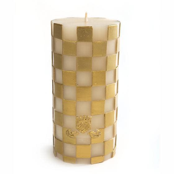 "MacKenzie Childs Check Pillar Candle - 6"" - Gold"