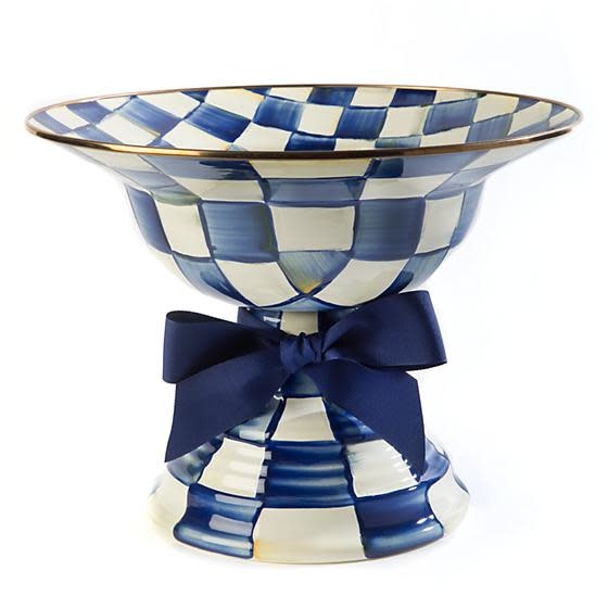 MacKenzie Childs Royal Check Compote - Large
