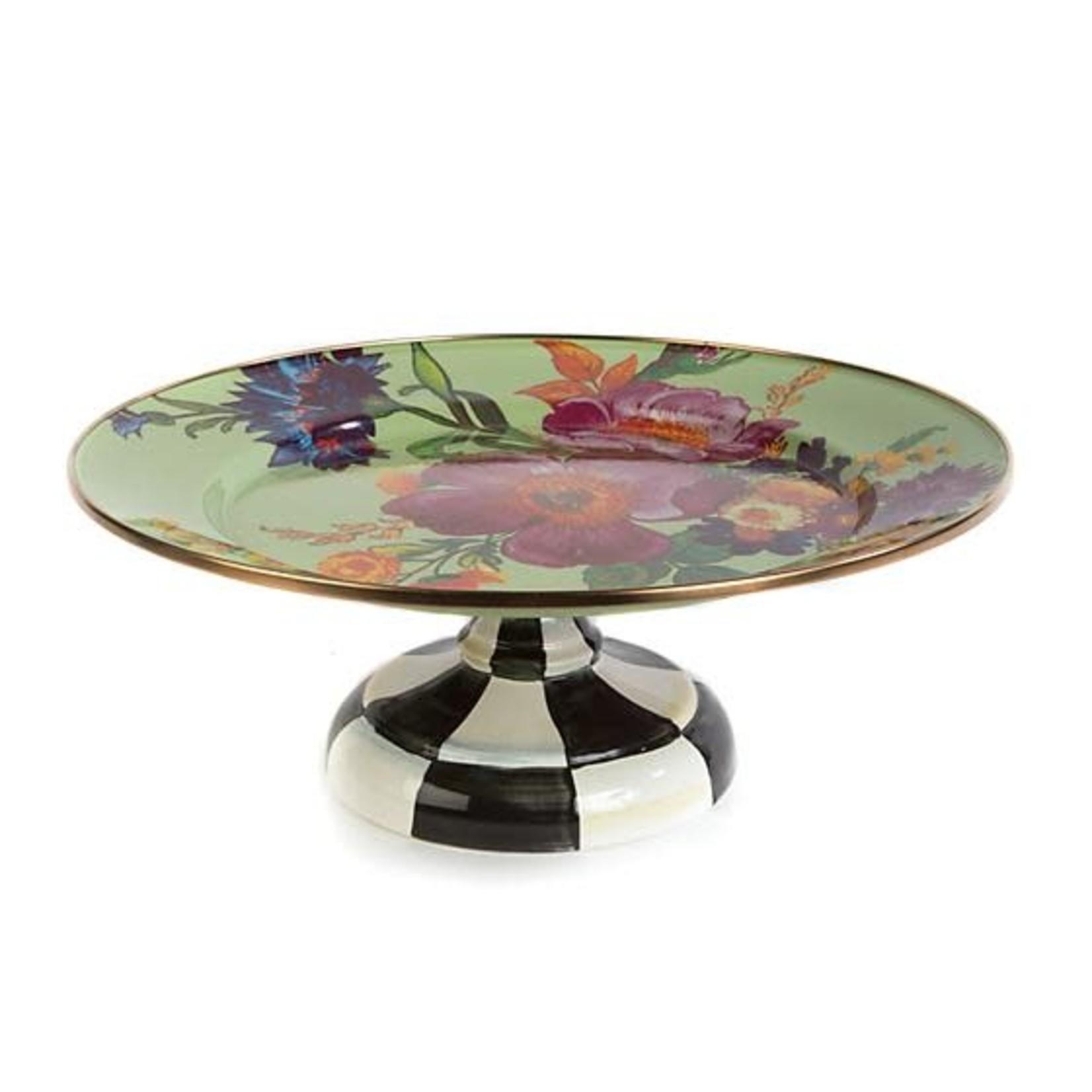 MacKenzie Childs Flower Market Small Pedestal Platter - Green