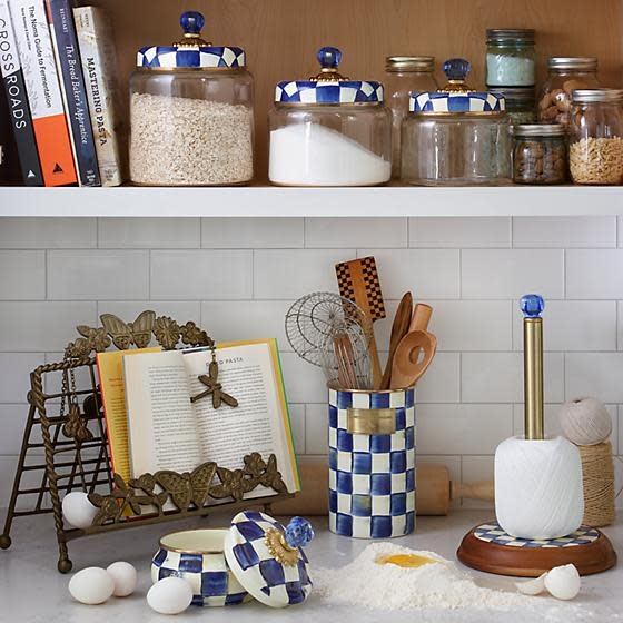MacKenzie Childs Royal Check Kitchen Canister - Small