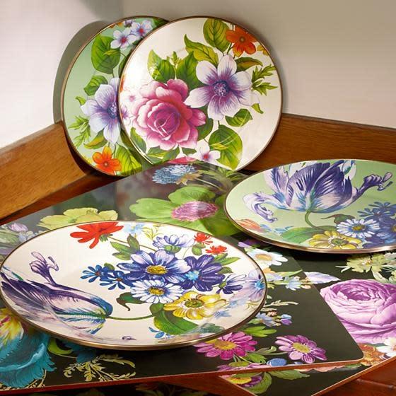 MacKenzie Childs Flower Market Dinner Plate - White