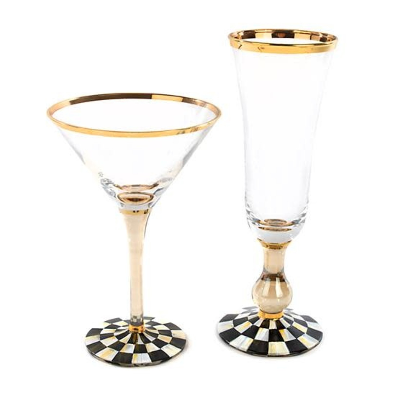 MacKenzie Childs Courtly Check Martini Glass