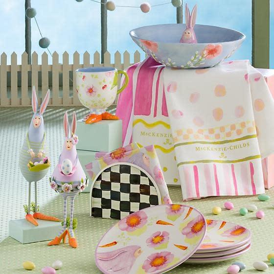 MacKenzie Childs Easter Stripe & Dot Dish Towels - Set of 2