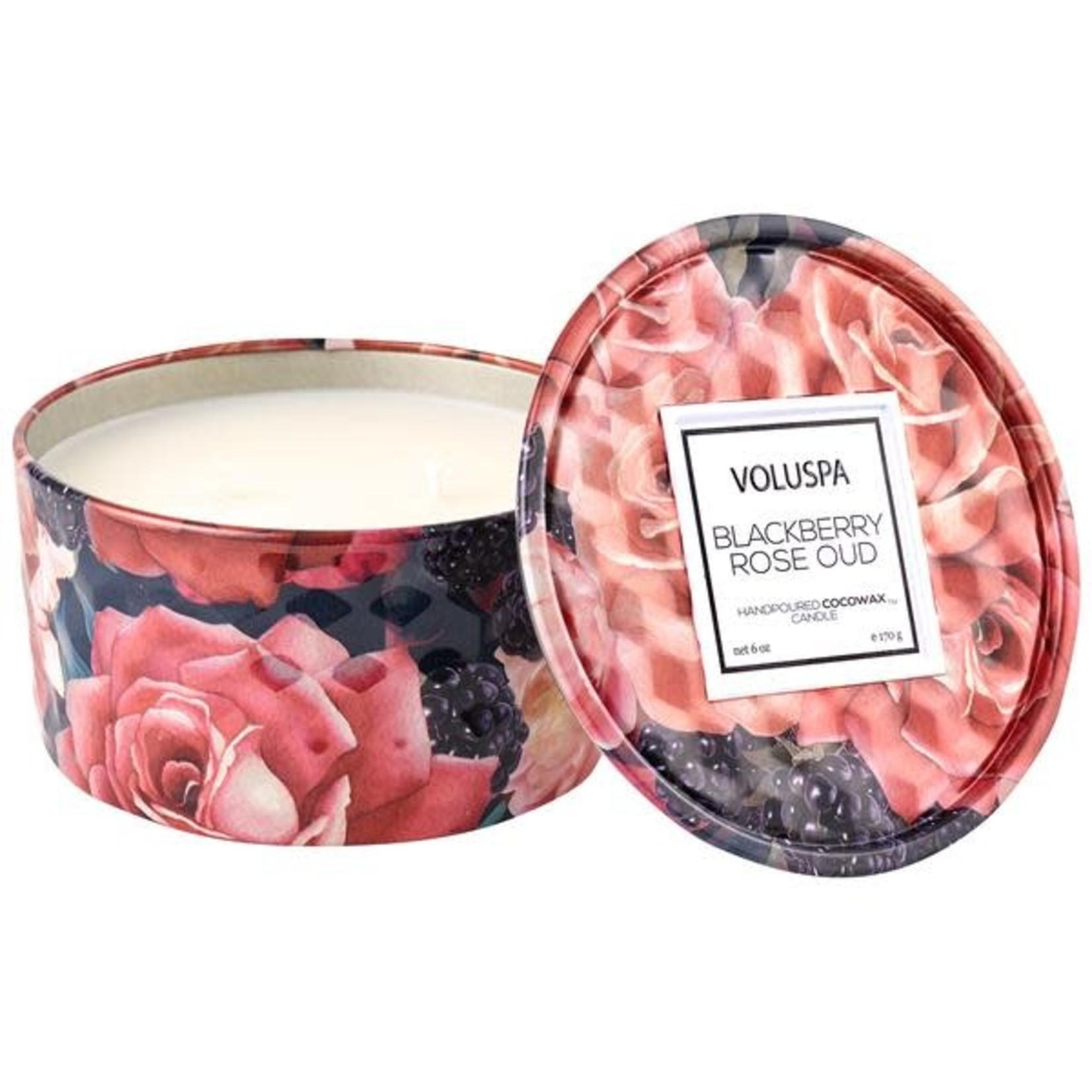Voluspa Blackberry Rose Oud 6 oz Mini Tin Candle