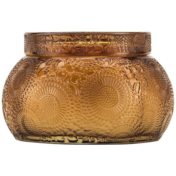 Voluspa Baltic Amber Embossed Tinted Glass Chawan Bowl with Lid