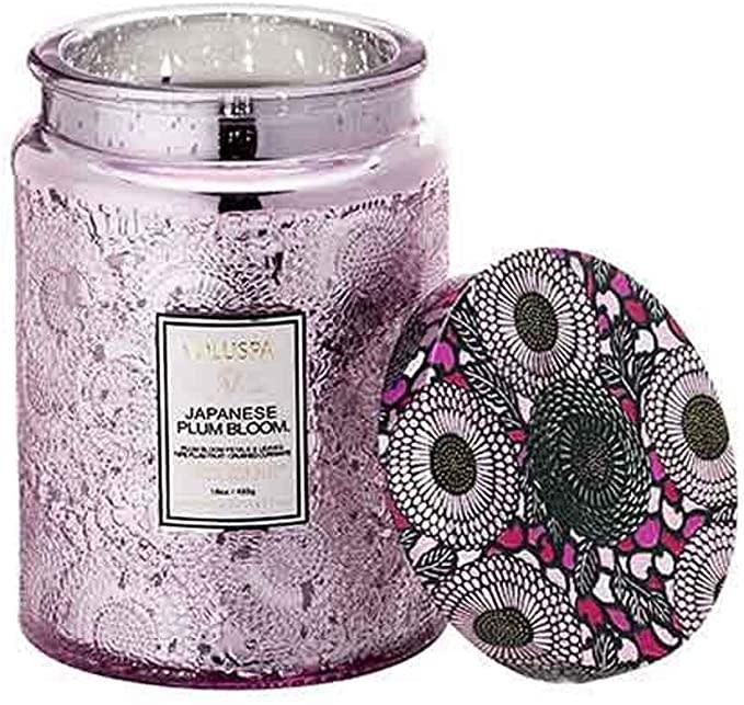 Voluspa Japanese Plum Bloom Large Embossed Glass Jar Candle