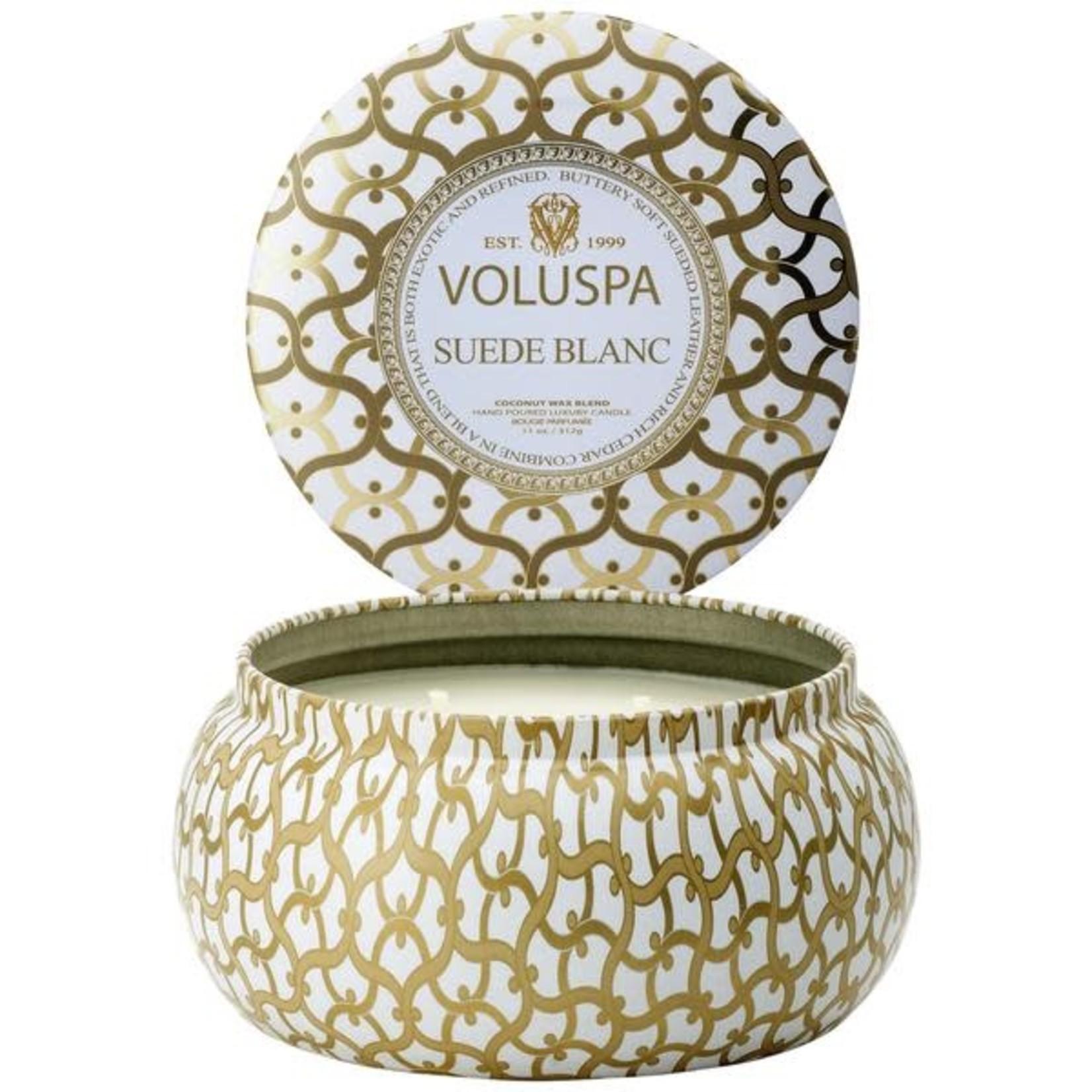 Voluspa Suede Blanc 2 wick Metallo Candle in Printed tin