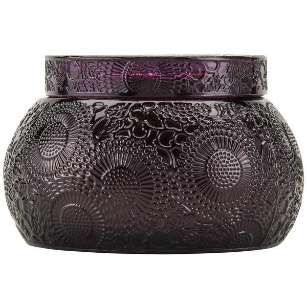 Voluspa Santiago Huckleberry Embossed Tinted Glass Chawan Bowl with Lid