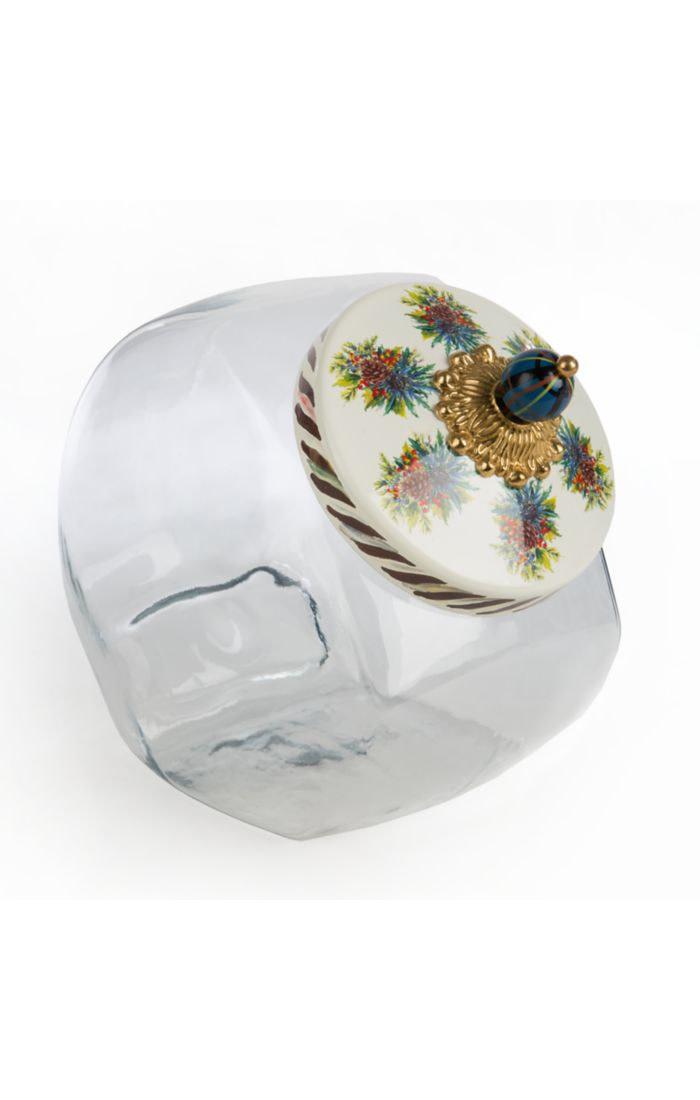 MacKenzie Childs Cookie Jar with Highlands Enamel Lid