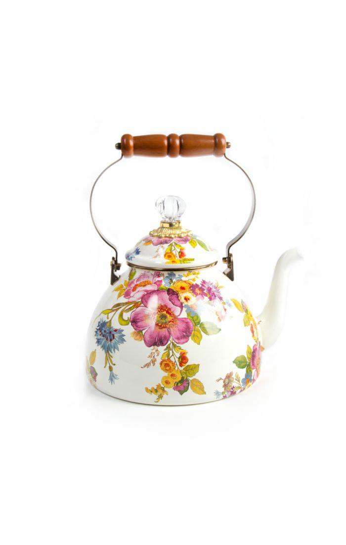 MacKenzie Childs Flower Market 3 Quart Tea Kettle - White