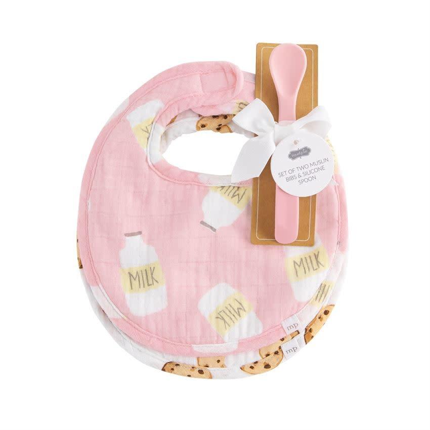 MudPie Pink Milk Muslin Bib & Spoon Set