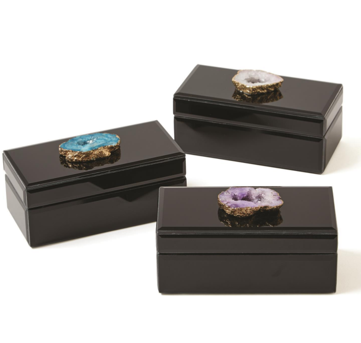 Two's Company Geode Black Rectangular Lined Box