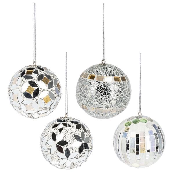 Silver Mosaic Ball Ornaments - Small ( price per piece)