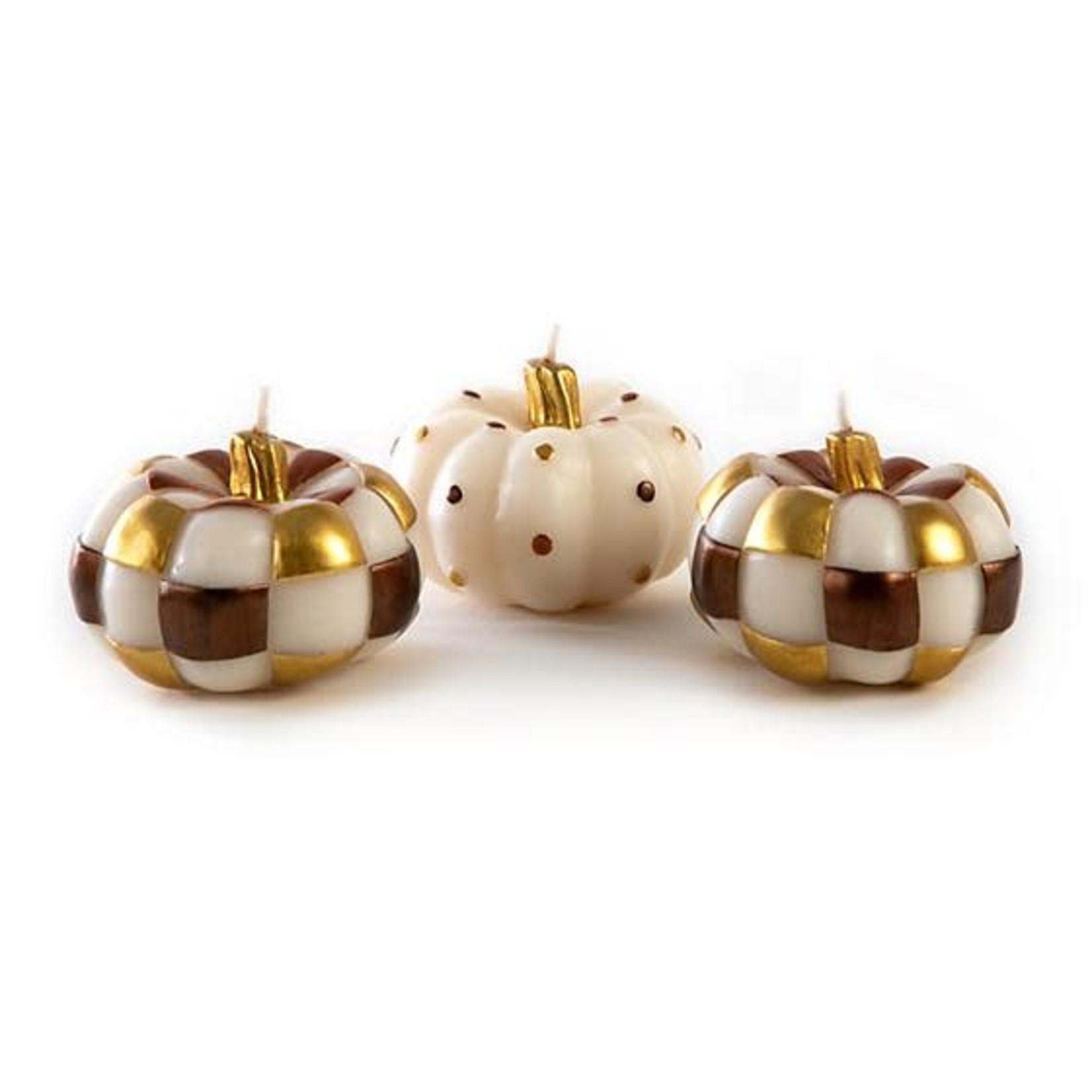 MacKenzie Childs Autumn Pumpkins Candles - Set of 3