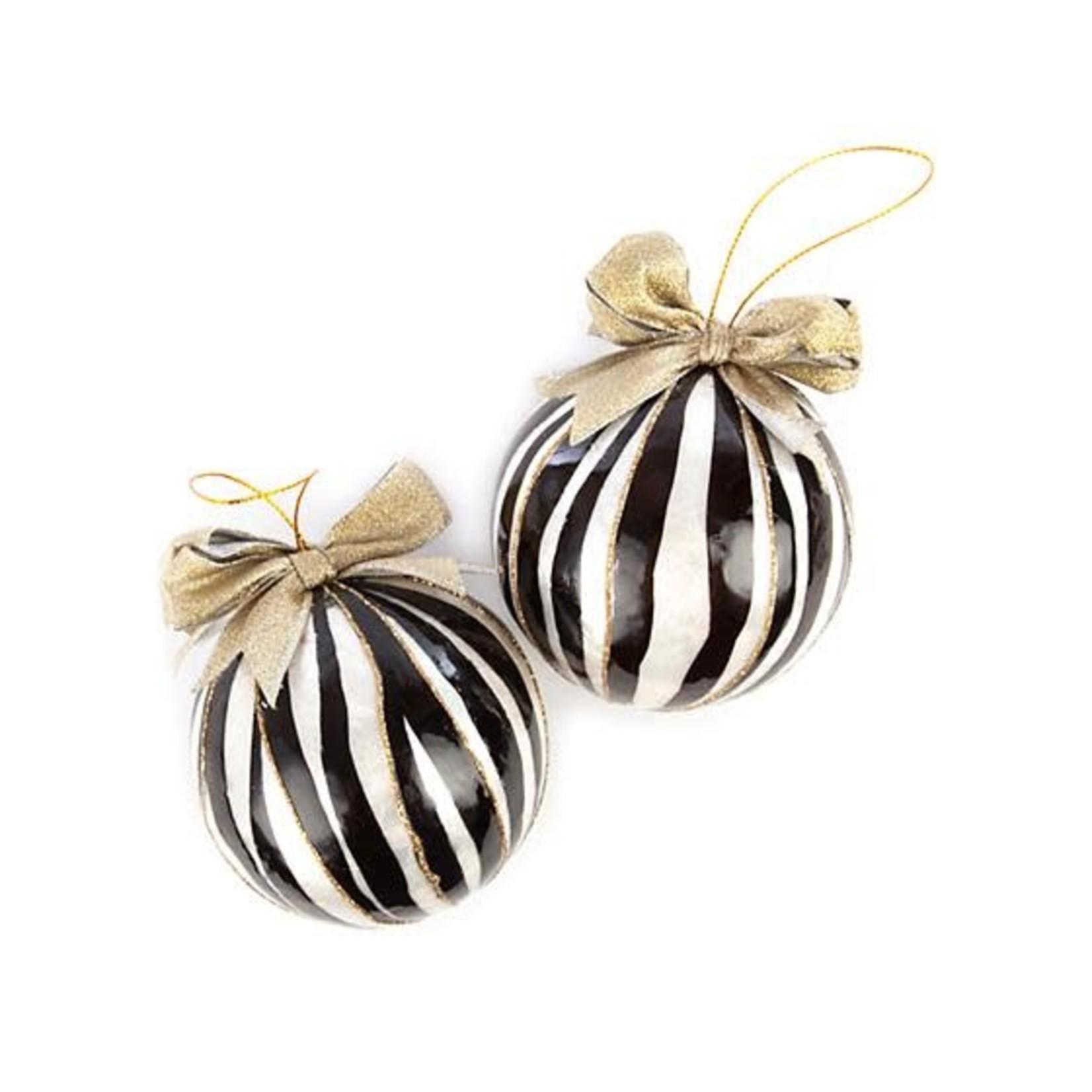 MacKenzie Childs Zebra Capiz Ball Ornaments - Set of 2