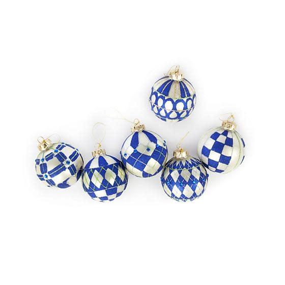 MacKenzie Childs Royal Glass Ball Ornaments - Set of 6