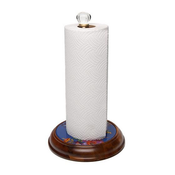 MacKenzie Childs Flower Market Wood Paper Towel Holder - Lapis