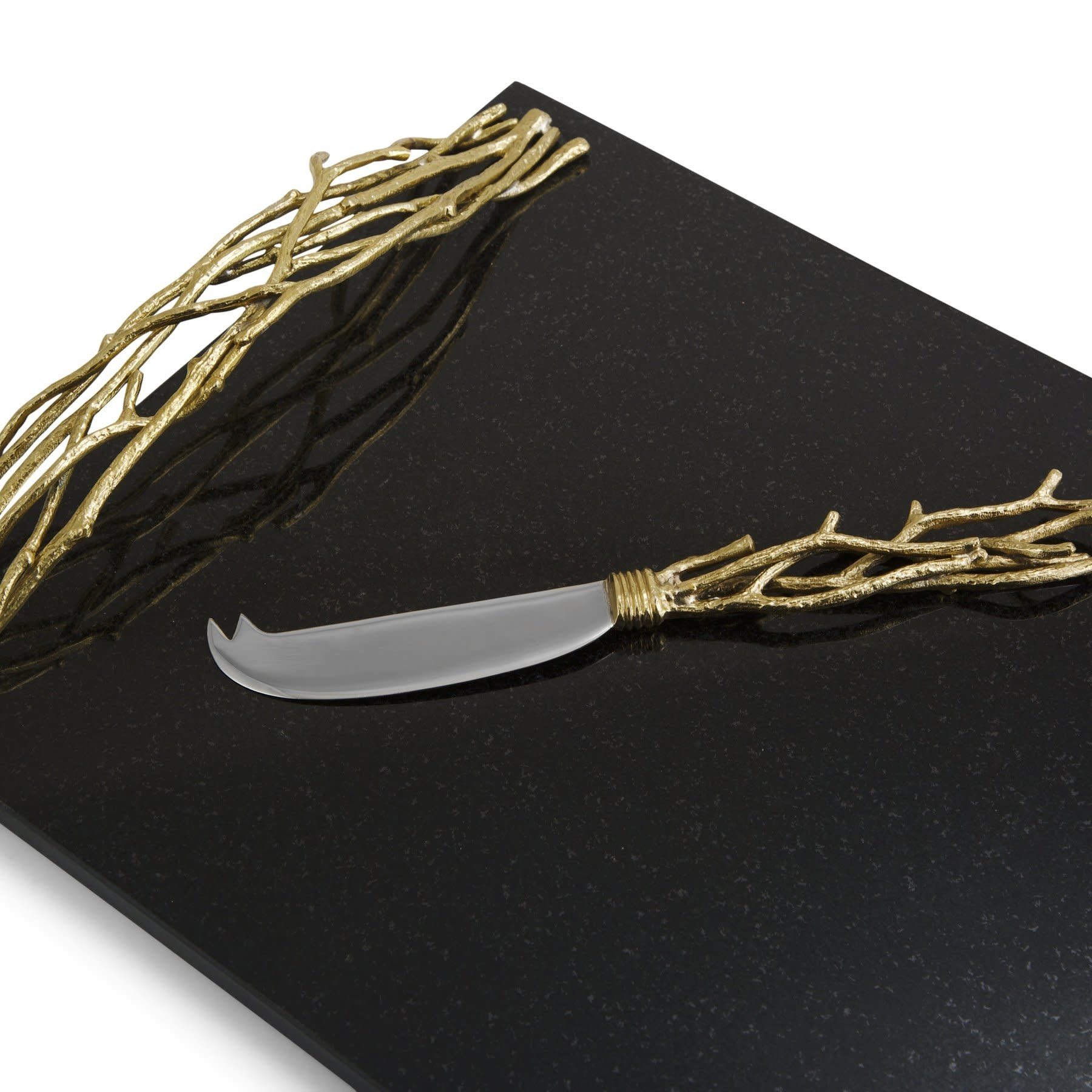 Michael Aram Twig Large Gold Cheeseboard/Knife