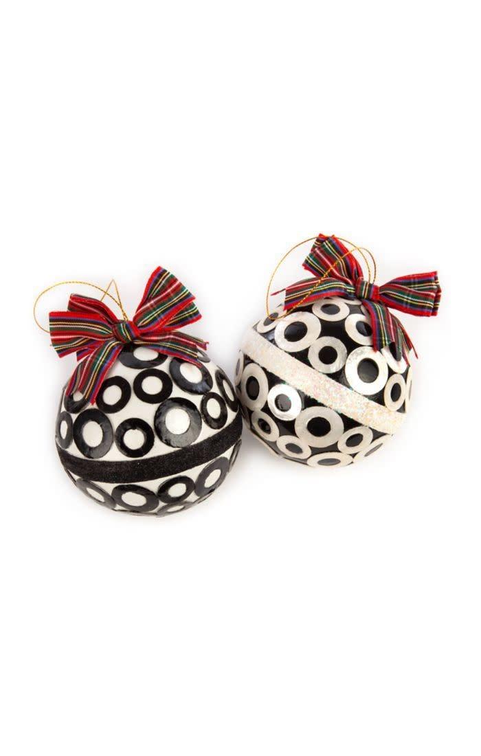 MacKenzie Childs Mod Capiz Ball Ornaments - Set of 2