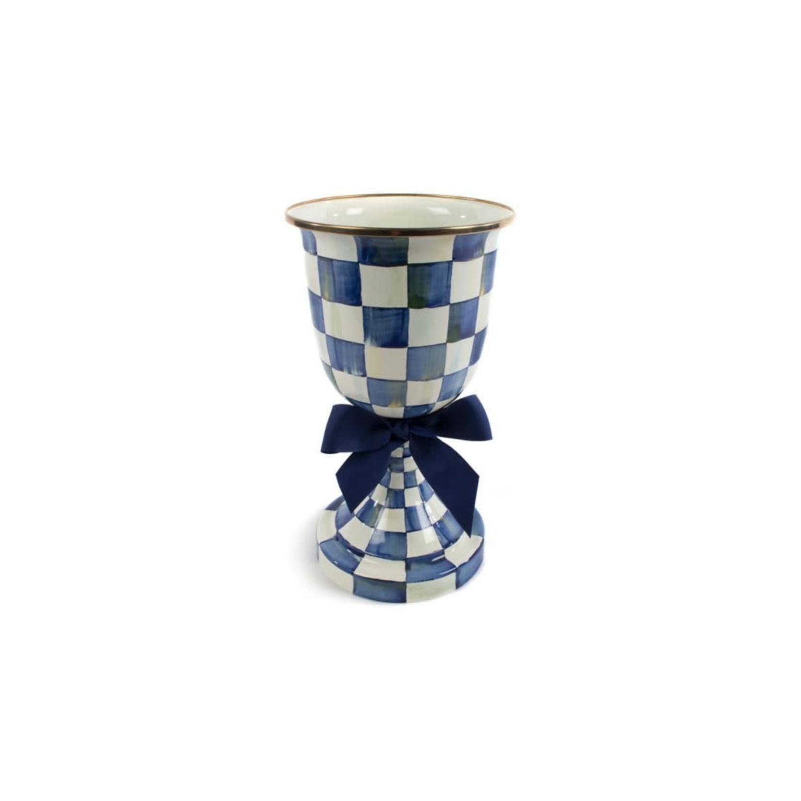 MacKenzie Childs Royal Check Pedestal Vase