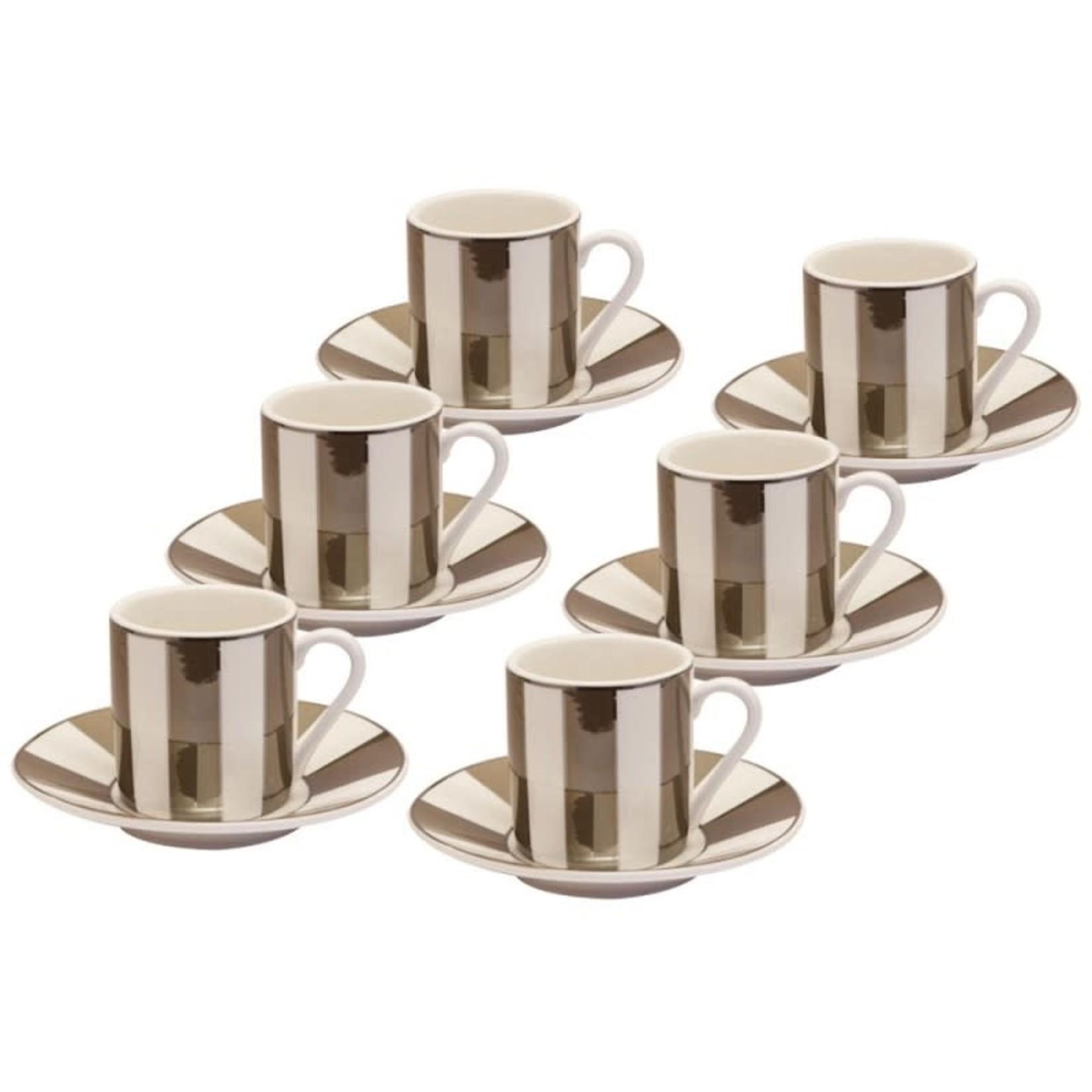 Metallic Pewter Stripe 6 Piece Espresso Set
