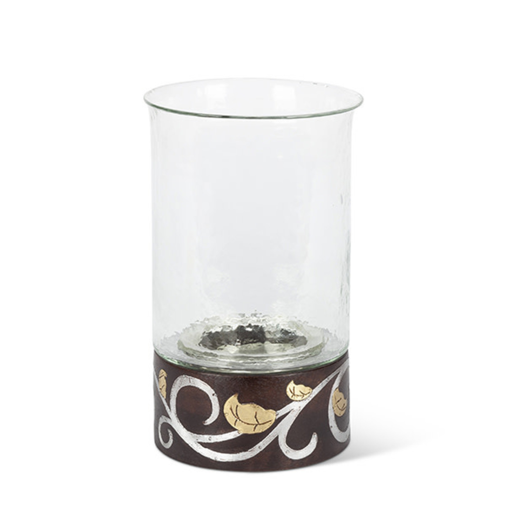 """The GG Collection GL 12""""H Wood/Inlay Candleholdr"""