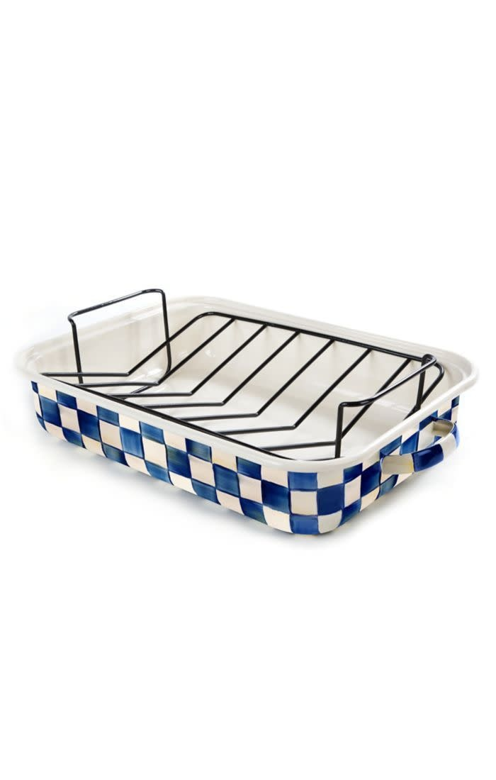 MacKenzie Childs Royal Check Roasting Pan with Rack