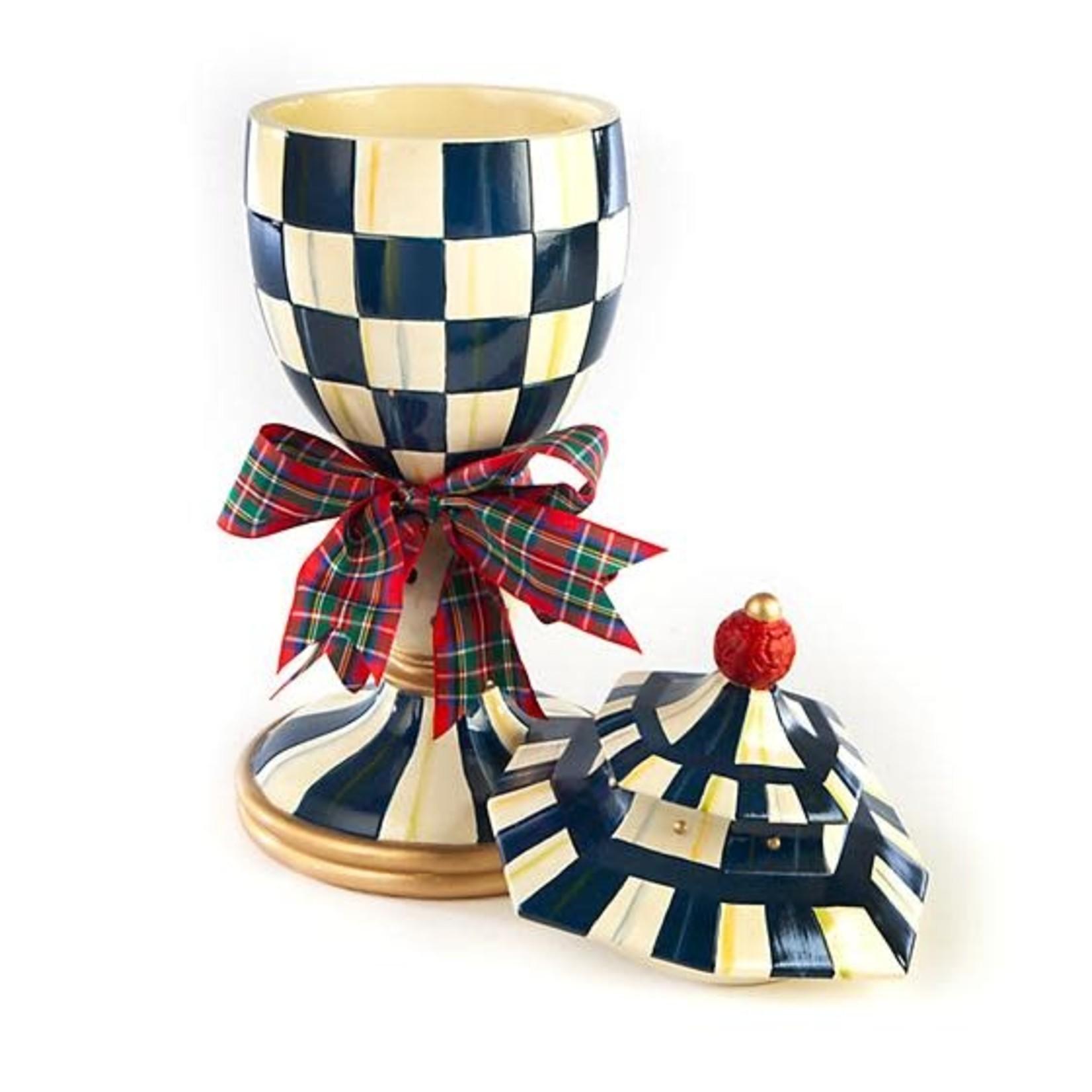 MacKenzie Childs Royal Check Lidded Urn - Large
