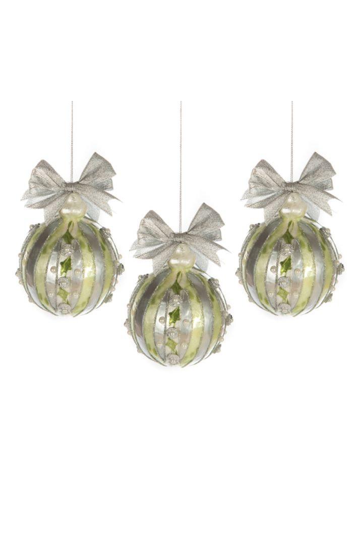 MacKenzie Childs Holly Capiz Ball Ornaments-Silver-Set of 3