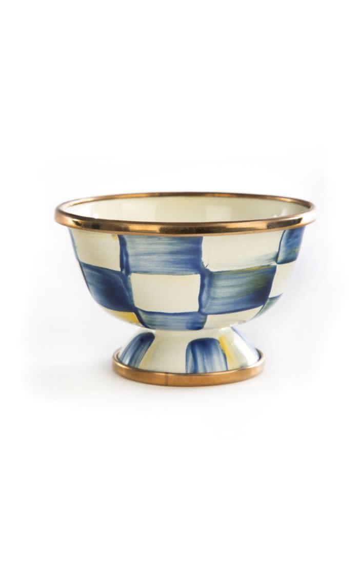 MacKenzie Childs Royal Check Enamel  Little Sugar Bowl