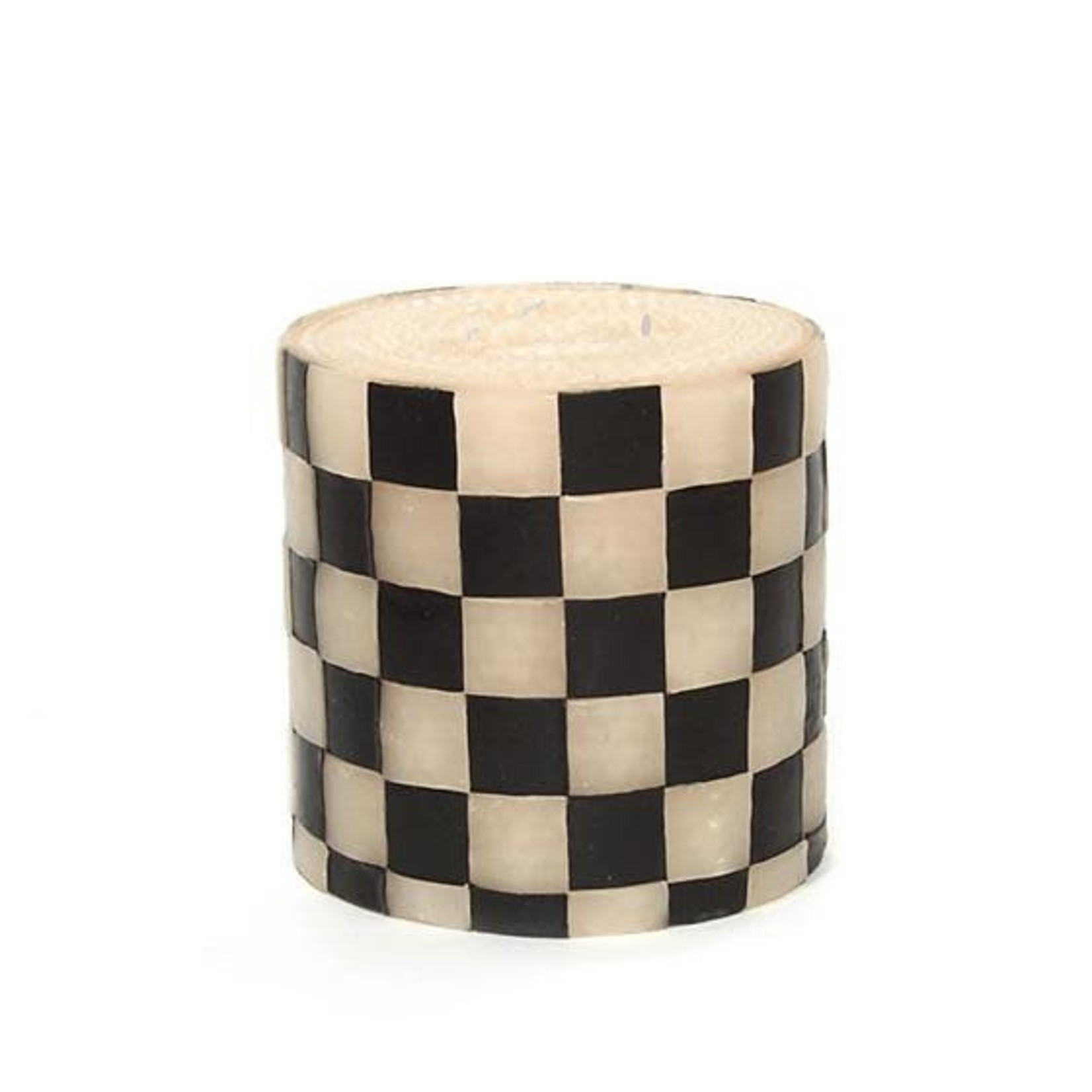 "MacKenzie Childs Check Pillar Candle - 5"" Black & Ivory"
