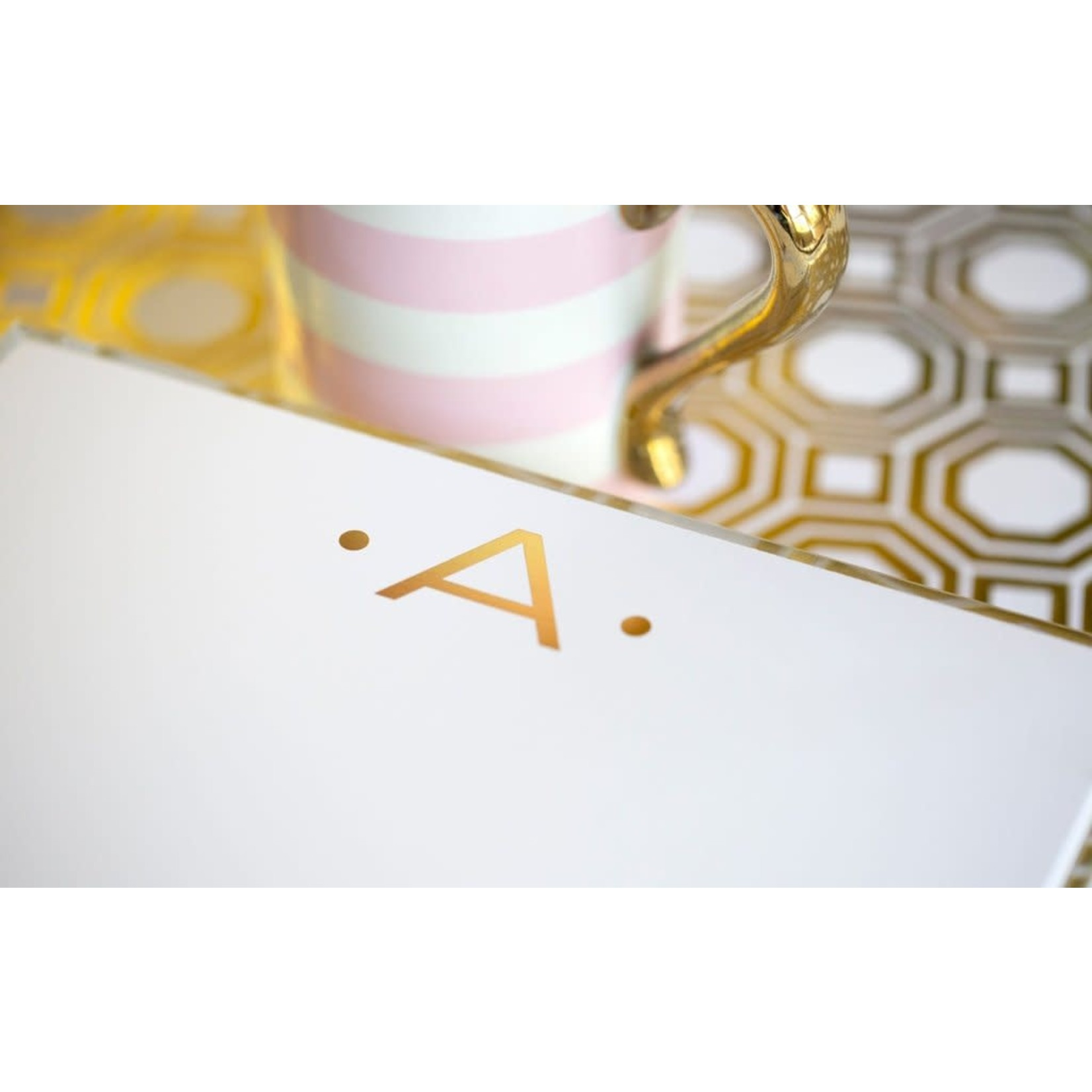 """Black Ink LUXE GOLD INITIAL NOTEPAD """"A"""""""