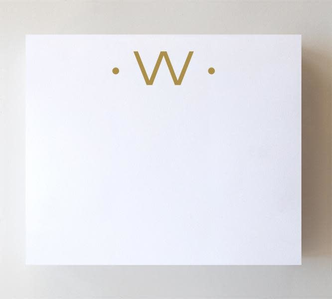 """Black Ink LUXE GOLD INITIAL NOTEPAD """"W"""""""