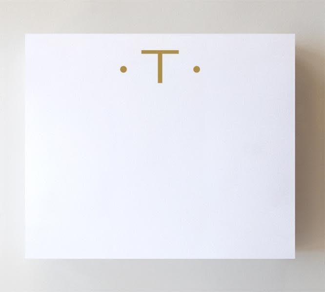 """Black Ink LUXE GOLD INITIAL NOTEPAD """"T"""""""