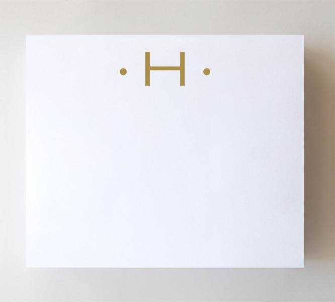"Black Ink LUXE GOLD INITIAL NOTEPAD ""H"""