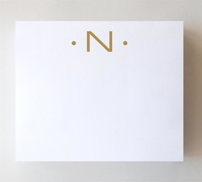 """Black Ink LUXE GOLD INITIAL NOTEPAD """"N"""""""