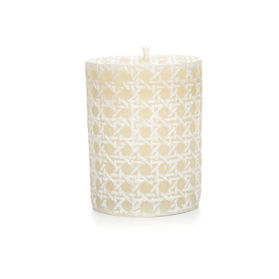 """MacKenzie Childs Rattan Pillar Candle - 4"""" - White"""